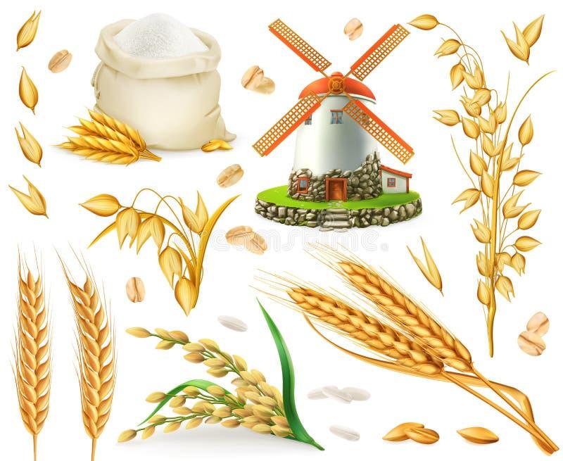 Пшеница, рис, овсы, ячмень, мука, мельница и зерно комплект значка вектора 3d иллюстрация вектора