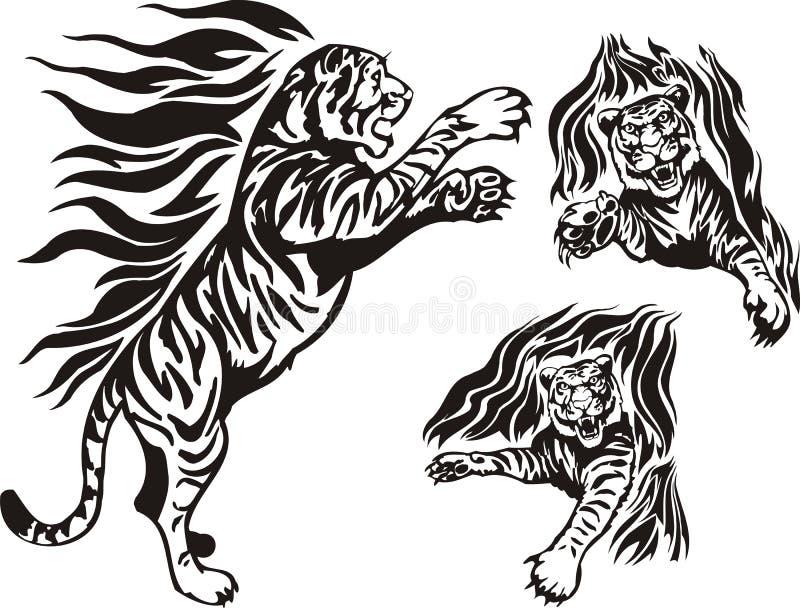 пылать больших котов иллюстрация штока