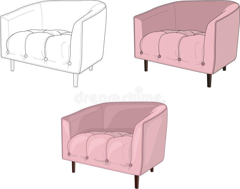 Пылевоздушная иллюстрация вектора других способов кресла 3 pinkl иллюстрация вектора
