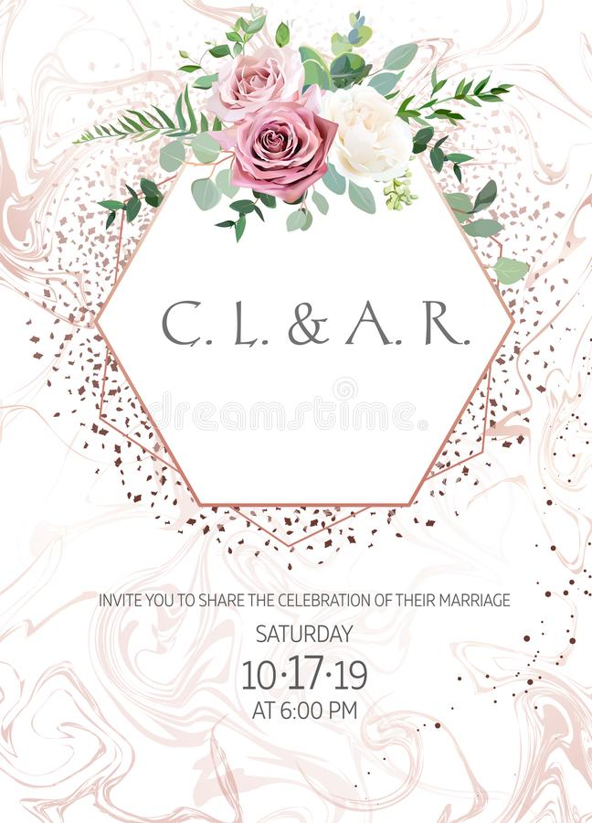 Пылевоздушный пинк, сметанообразная ая-бел античная роза, бледная рамка свадьбы дизайна вектора цветков иллюстрация вектора