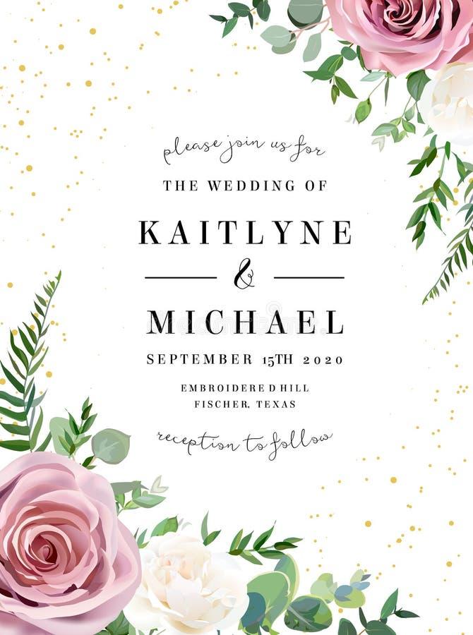 Пылевоздушный пинк, сметанообразная ая-бел античная роза, бледная рамка свадьбы дизайна вектора цветков бесплатная иллюстрация