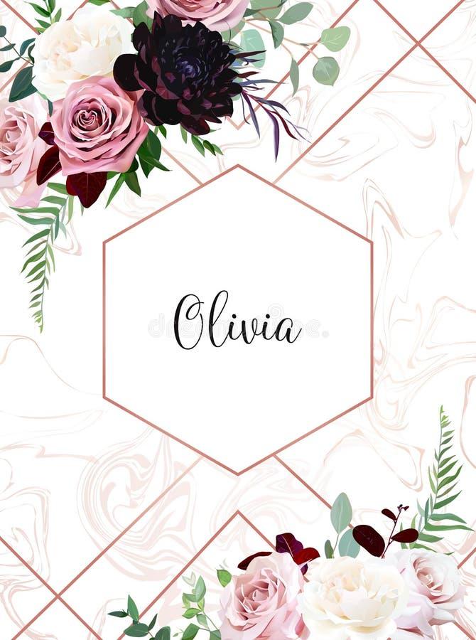 Пылевоздушный пинк, сметанообразная ая-бел античная роза, бледные цветки, темный бургундский георгин иллюстрация штока