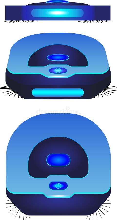 Пылесос робота в 3 различных углах Голубые взгляд сверху и вид спереди пылесоса робота, так же, как isometry иллюстрация штока