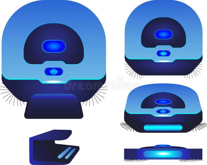 Пылесос робота Голубой пылесос робота в различных углах иллюстрация вектора