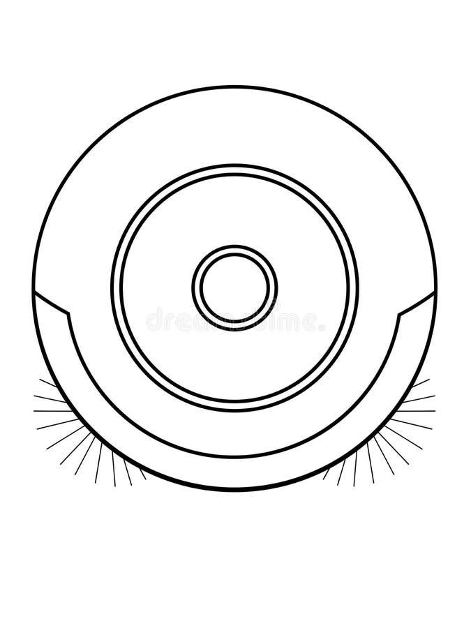 Пылесос робота hoover Изображение вакуума линейное Пылесос робота над взглядом Линия чертеж Конец-вверх иллюстрация вектора