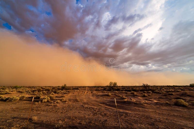 Пыльная буря Haboob в пустыне стоковое фото rf