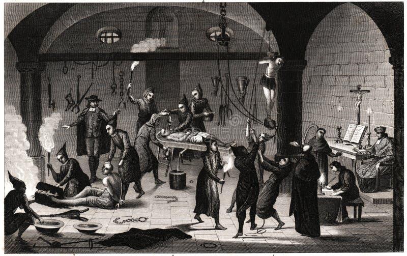 пытка испанского языка inquistion иллюстрация вектора