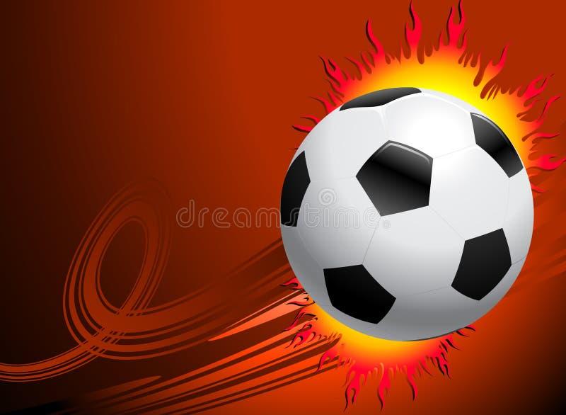 Пылая футбольный мяч на красной предпосылке иллюстрация вектора
