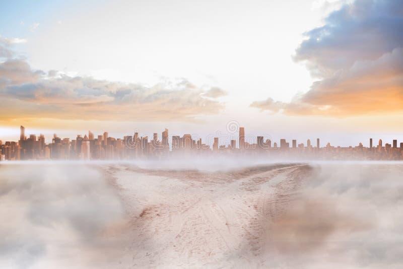 Пылевоздушный путь в пустыне водя к городу иллюстрация вектора