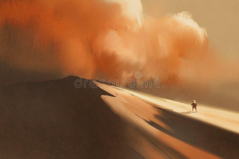Пыльная буря в пустыне и пешем человеке иллюстрация вектора