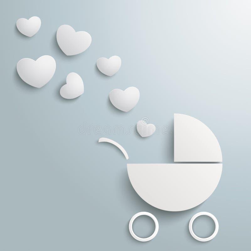 Пыль сердец багги младенца белой бумаги иллюстрация штока