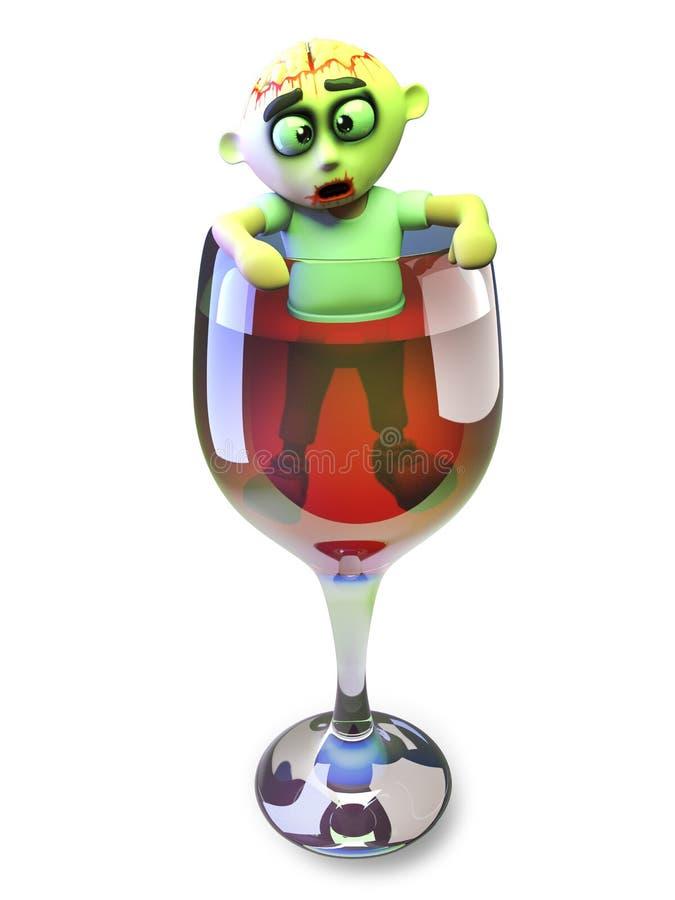 Пьяное чудовище зомби 3d хеллоуина взбирается из стекла красного вина, иллюстрации 3d иллюстрация вектора
