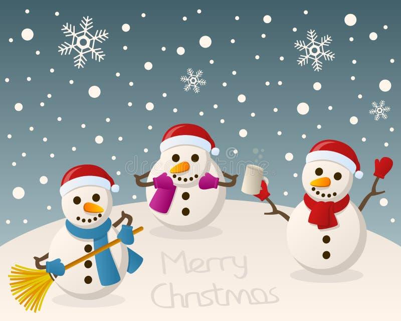 Пьяные снеговики на снеге иллюстрация вектора