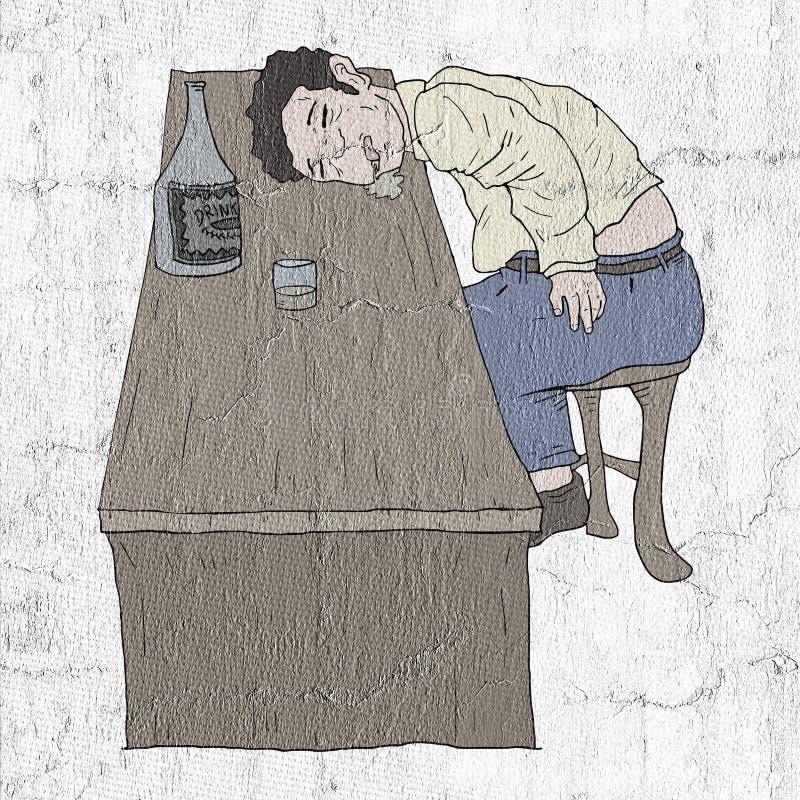 Пьяный в пабе иллюстрация штока
