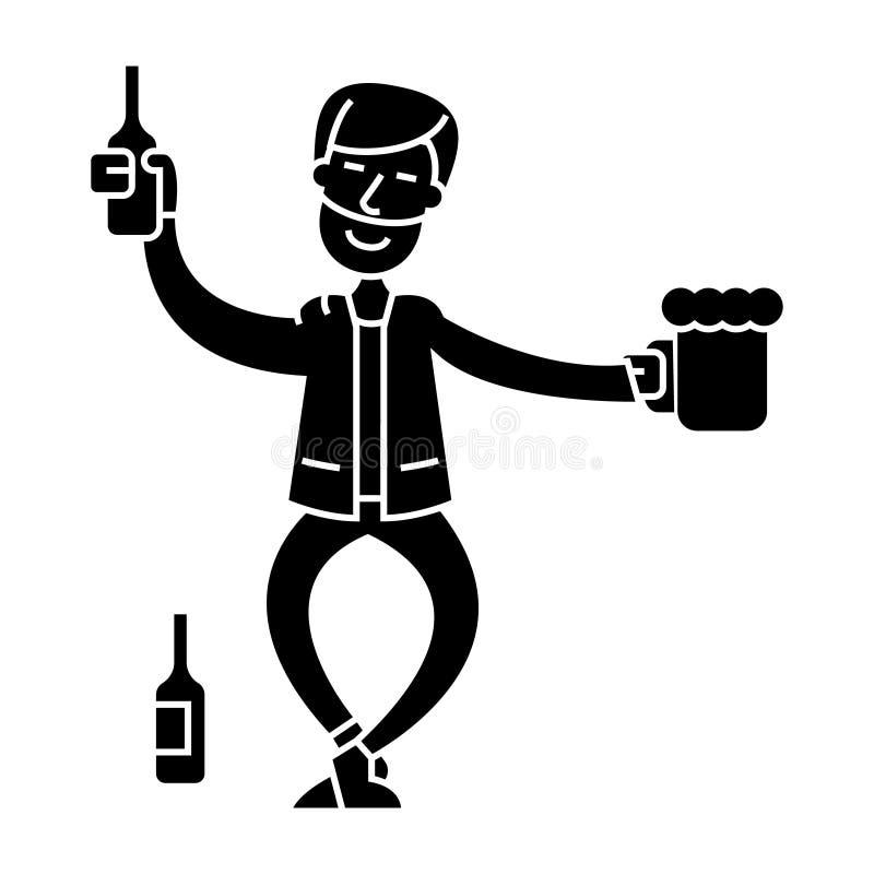 Пьяный значок человека, иллюстрация вектора, знак на изолированной предпосылке бесплатная иллюстрация