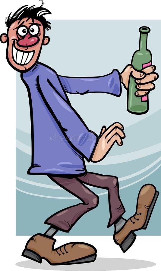 Пьяный парень с иллюстрацией шаржа бутылки бесплатная иллюстрация