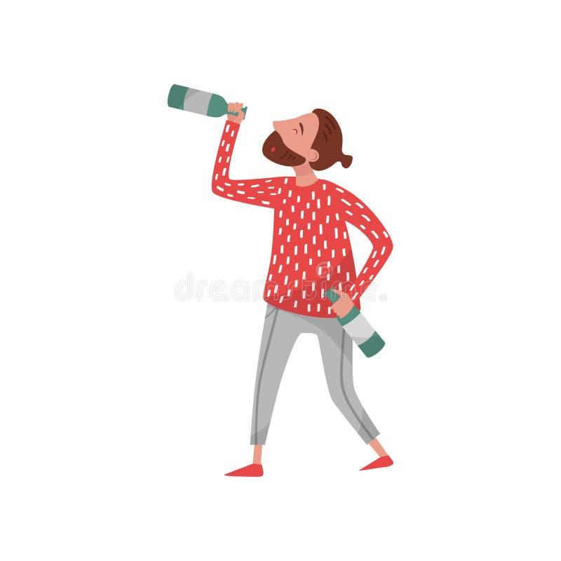 Пьяный персонаж из мультфильма молодого человека битника, алкогольный напиток парня выпивая от иллюстрации вектора бутылки на бел бесплатная иллюстрация