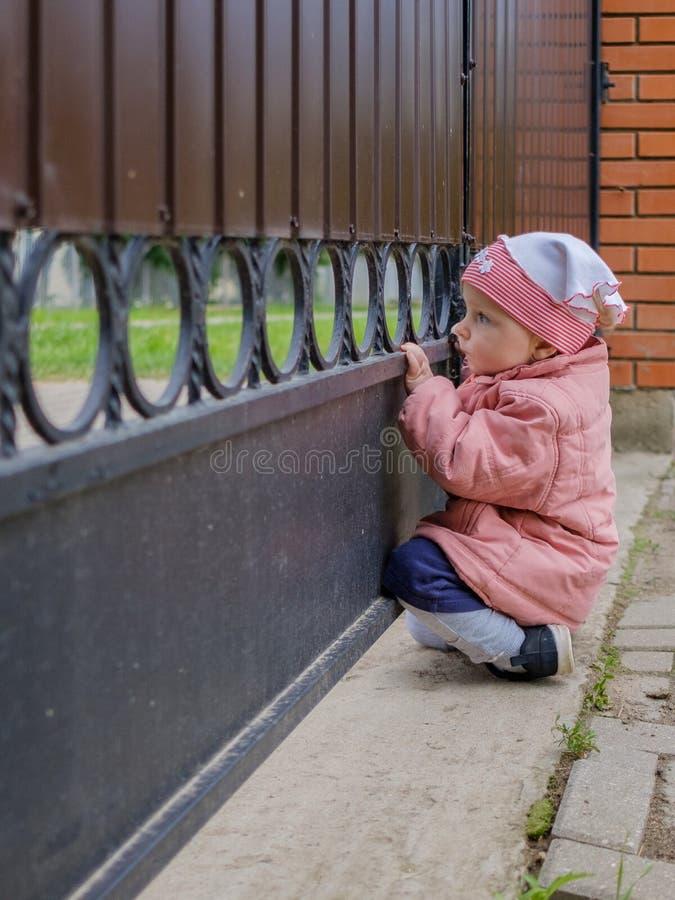 Пэры маленькие белокурые девушки вне через бары ворот Счастливый любопытный младенец исследует мир с интересом стоковая фотография