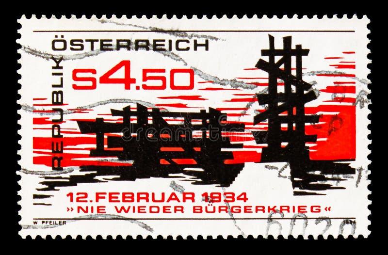 пятидесятая годовщина 1934 восстания, отсутствие снова serie гражданской войны, около 1984 стоковые изображения rf
