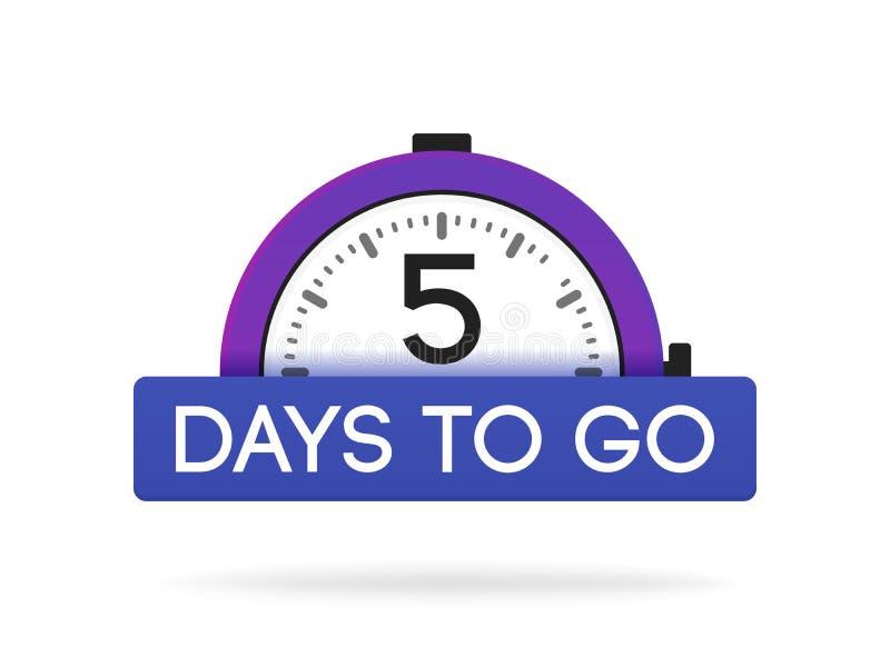 Пятидневный пойти ярлык, пурпурная квартира будильника с голубой лентой, значком продвижения, самым лучшим illustretion вектора с бесплатная иллюстрация