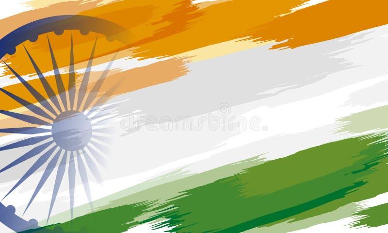 пятнадцатый из Индии -го дизайна предпосылки Дня независимости в августе краски цвета на белой предпосылке бесплатная иллюстрация