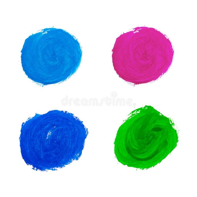 Пятна акварели красочные Рука акварели покрасила собрание кругов изолированный на белой предпосылке иллюстрация штока