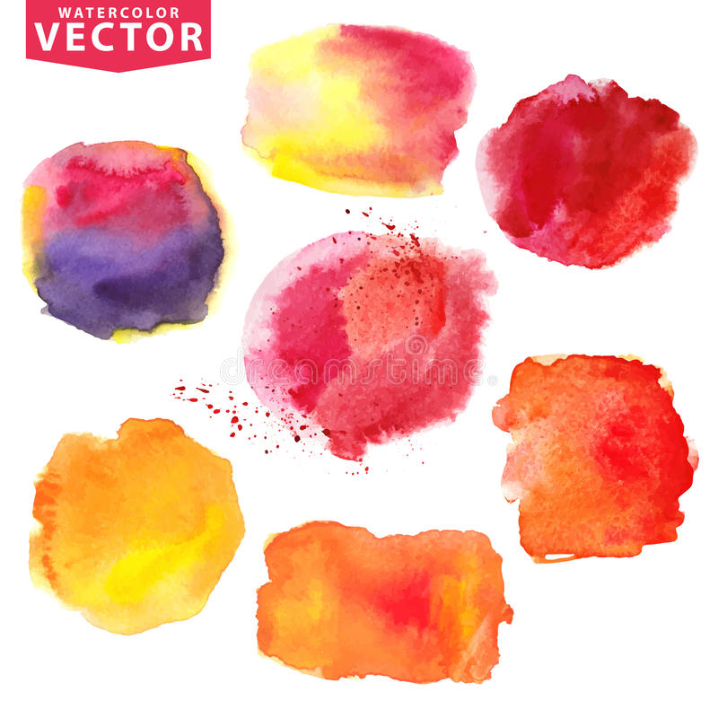 Пятна акварели Апельсин, красный цвет, magenta иллюстрация вектора
