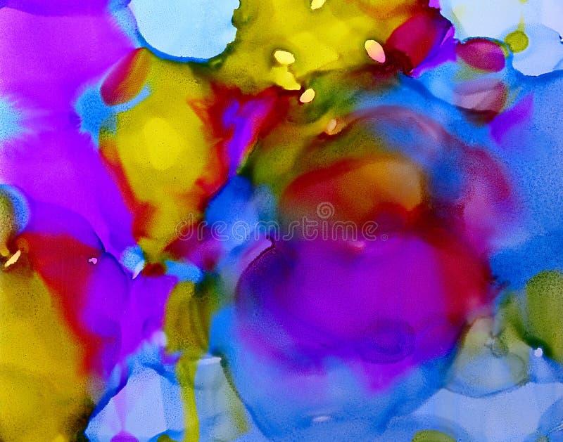 Пятна голубого зеленого цвета абстрактной краски фиолетовые пропускают иллюстрация штока