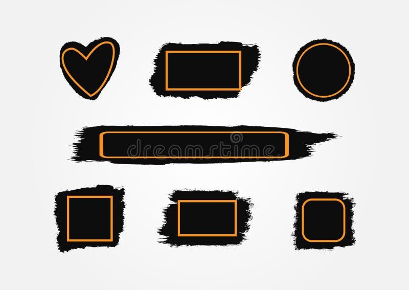 Пятна краски с рамками Ходы щетки текстуры с коробками для текста иллюстрация вектора