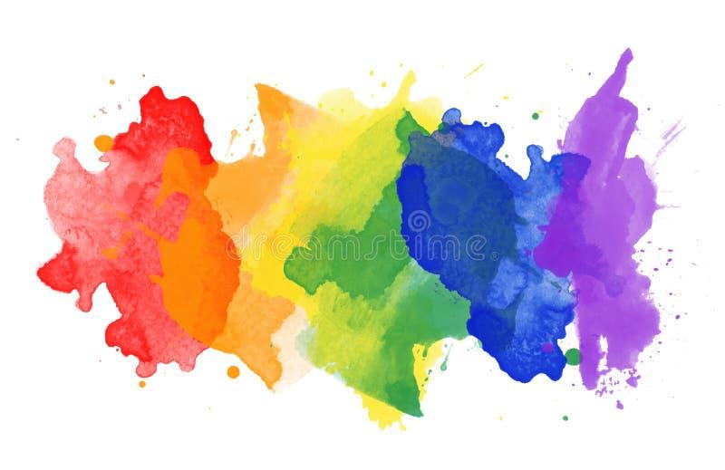 Пятна радуги акварели стоковое изображение rf