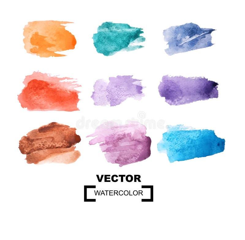 Пятна цвета акварели пестротканая акварель brushstrokes r иллюстрация вектора