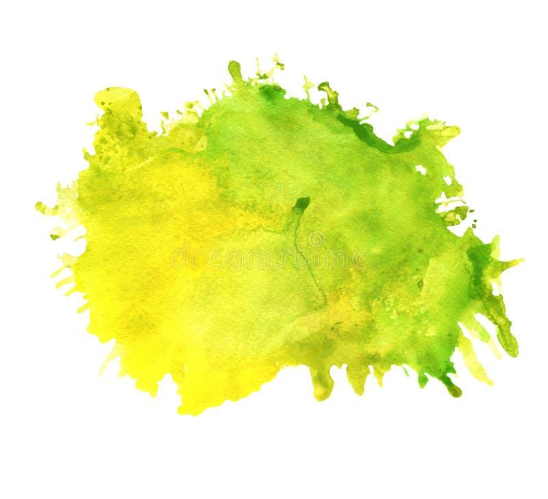 Пятно акварели зеленое и желтое с помарками иллюстрация штока
