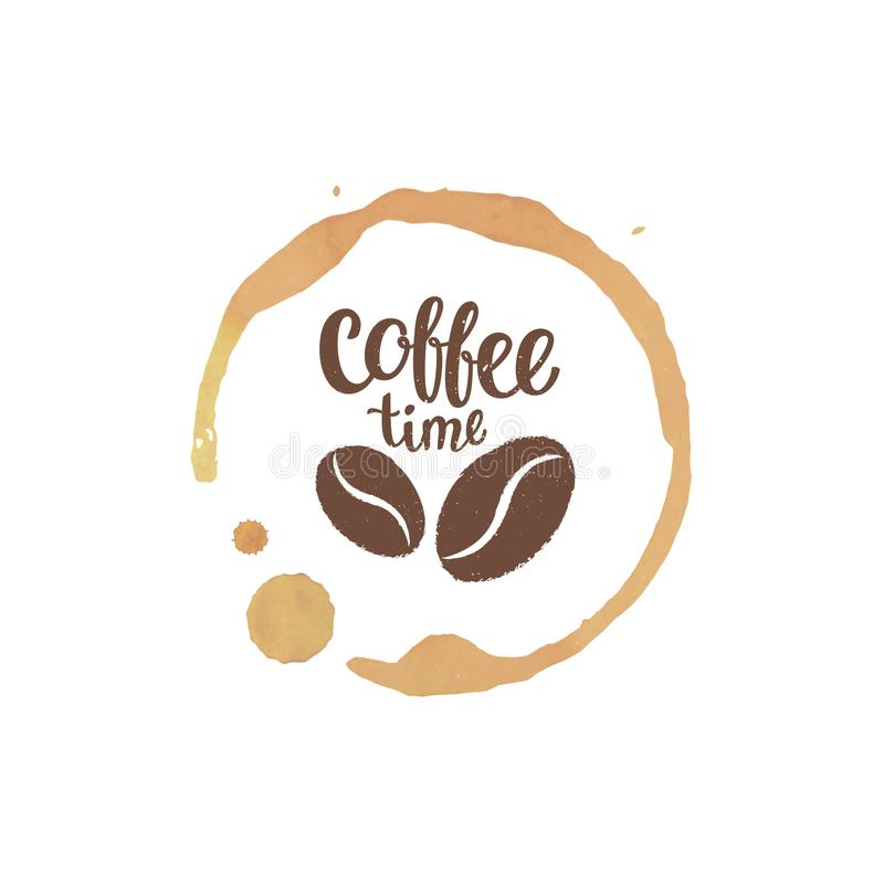 Пятно и падения кофейной чашки с кофе приурочивают силуэты литерности и фасолей бесплатная иллюстрация
