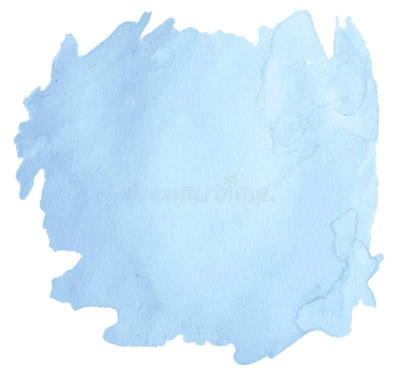 Пятно мытья голубой пастельной акварели нарисованное вручную изолированное стоковое фото