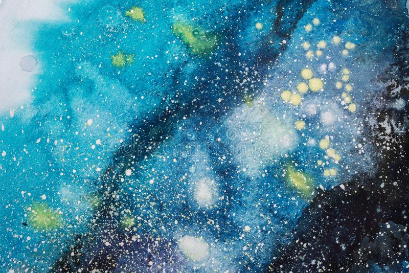 Пятно яркого пинка акварели голубого пурпурное красное капает шарики абстрактная иллюстрация стоковые изображения