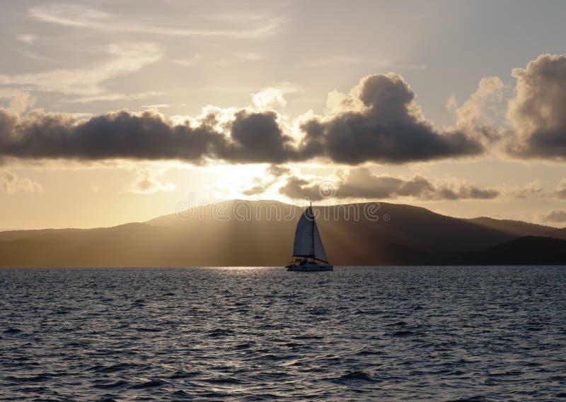 Плавание захода солнца стоковое фото