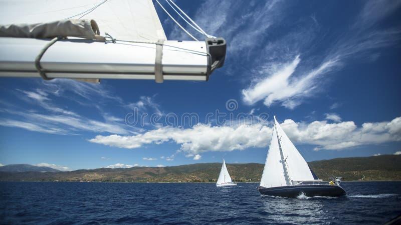 Плавание яхты группы Регата плавания Шлюпка Sailing в море стоковое изображение