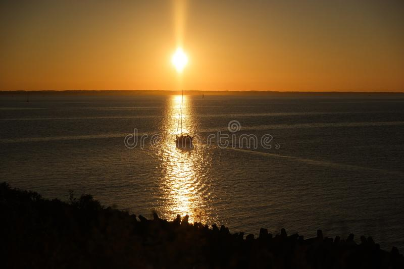 Плавать в заходе солнца стоковое фото rf