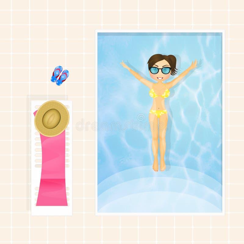 плавая бассеин девушки иллюстрация штока