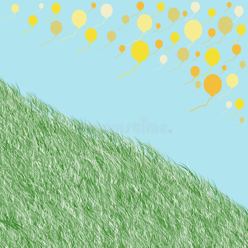 Плавая желтые воздушные шары и зеленая трава на голубой предпосылке стоковое изображение