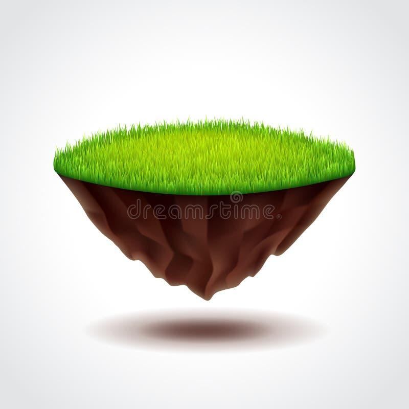 Плавая остров с вектором зеленой травы иллюстрация штока