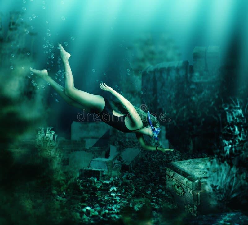 плавая подводная женщина adventurousness стоковая фотография rf
