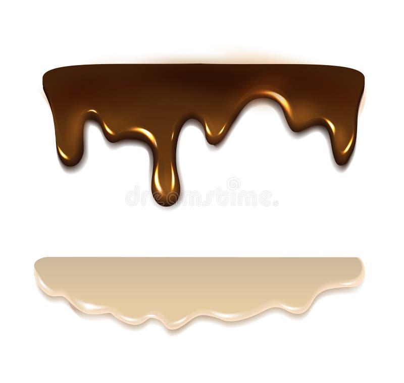 Плавя сливк шоколада и молока вектор бесплатная иллюстрация