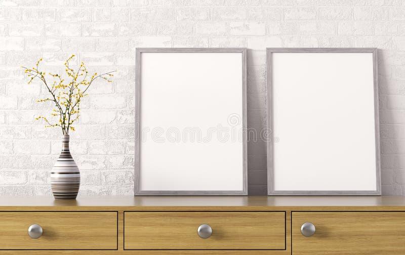 2 плаката на комоде перевода ящиков 3d иллюстрация вектора