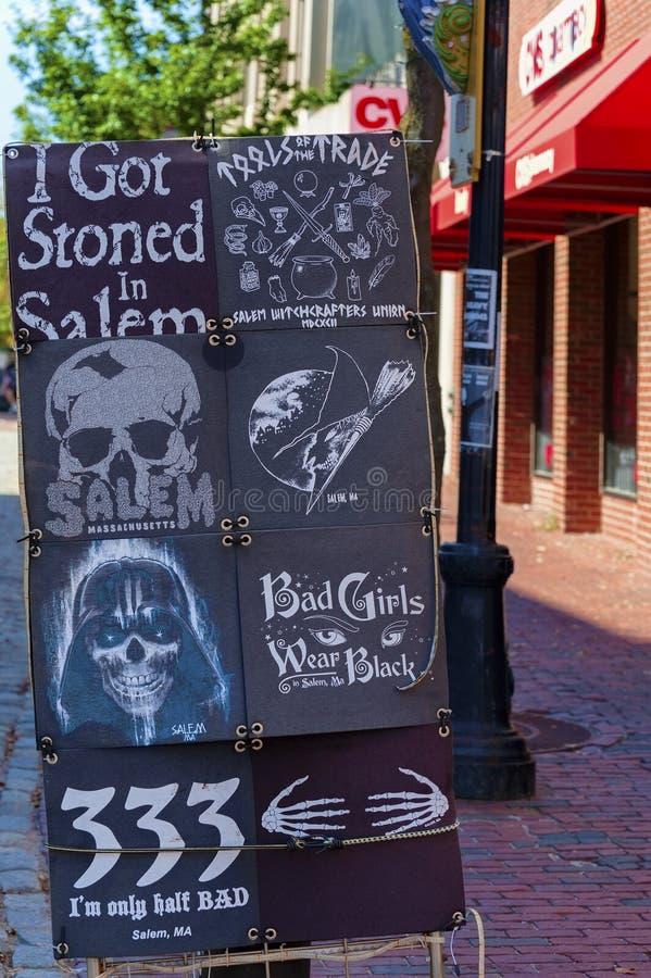 Плакатная панель улицы Салема Массачусетса стоковое изображение rf