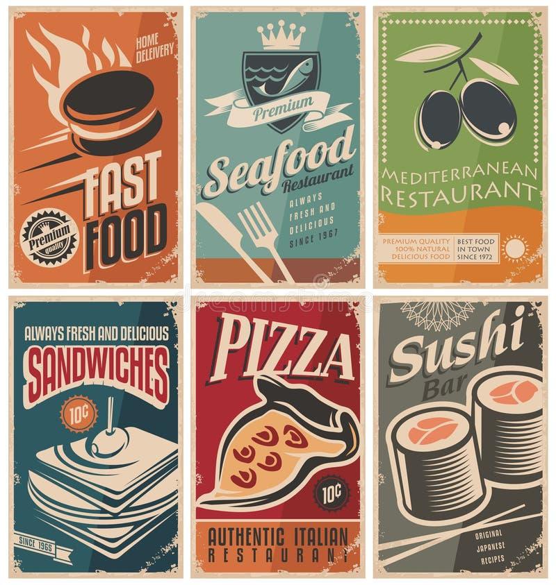 Плакаты еды иллюстрация вектора