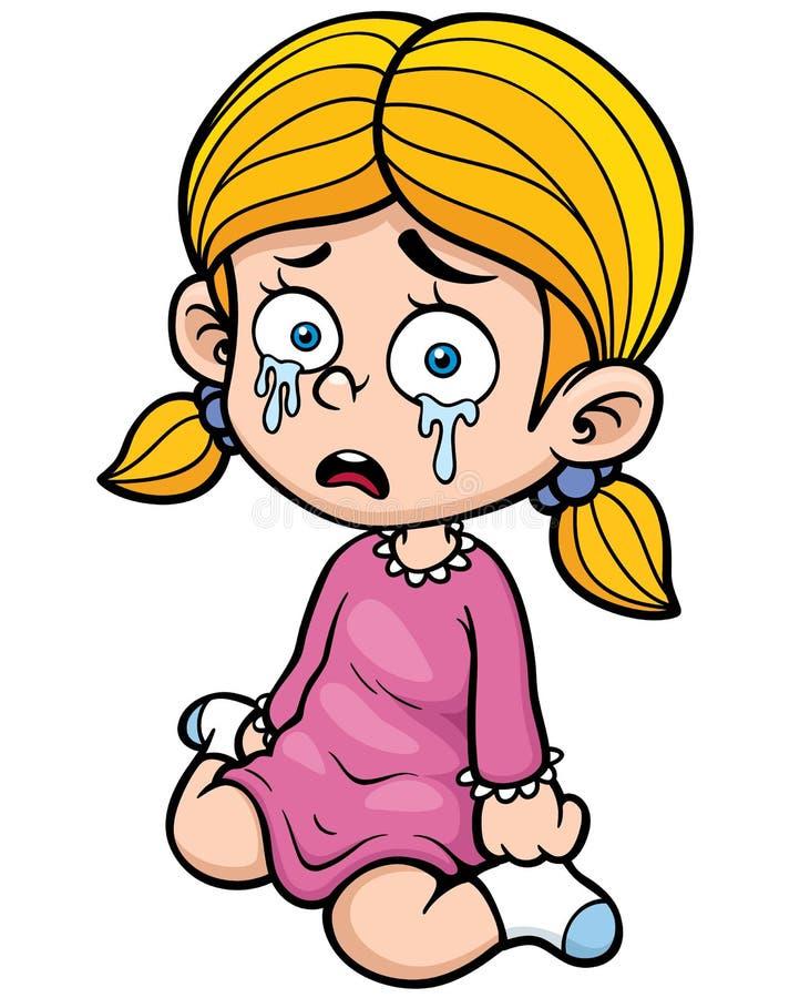 Плакать девушки иллюстрация вектора