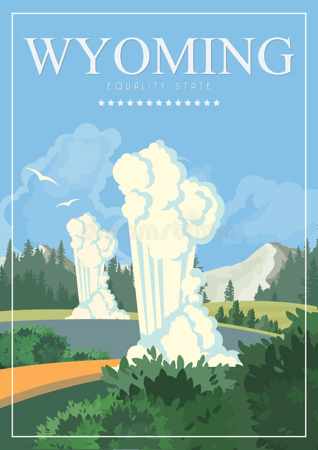 Плакат американца вектора Вайоминга Иллюстрация перемещения США Поздравительная открытка Соединенных Штатов Америки красочная бесплатная иллюстрация