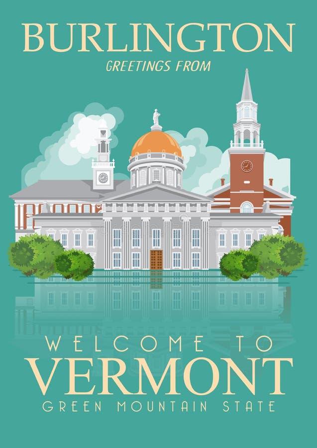 Плакат американца вектора Вермонта Иллюстрация перемещения США Карточка Соединенных Штатов Америки Город иллюстрация штока