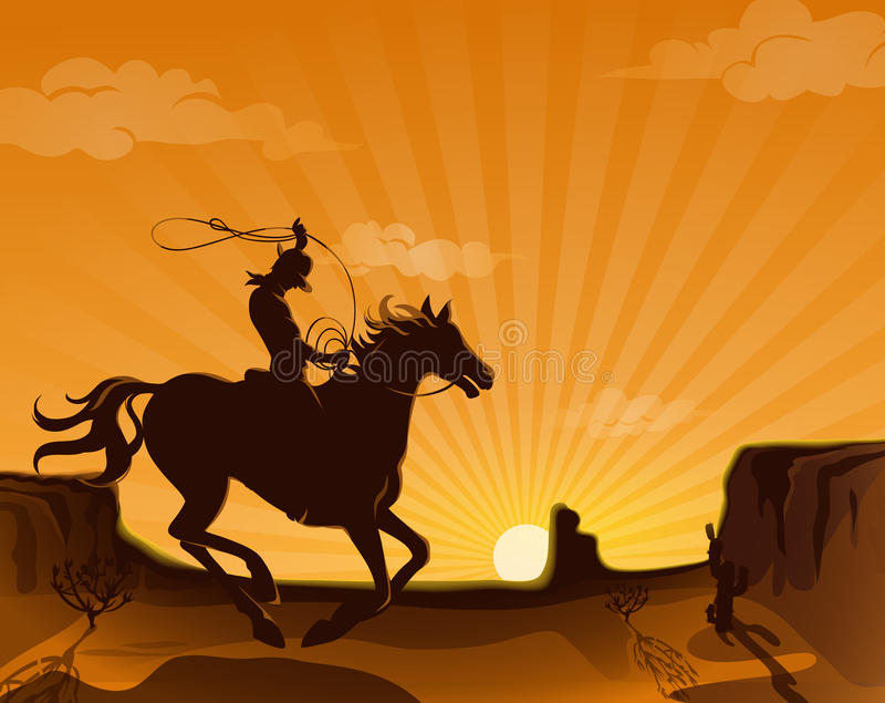 Плакат ландшафта Диких Западов бесплатная иллюстрация